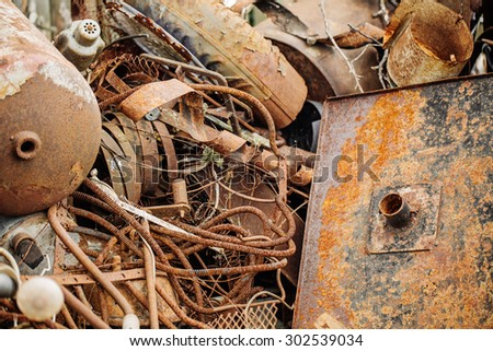old rusty scrap metal, close up view - stock photo