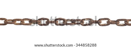 Old rusty steel chain close up isolated on white background - stock photo