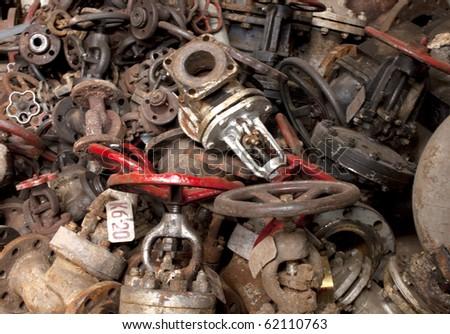Old rusty technology, vintage valves, tubes etc - stock photo