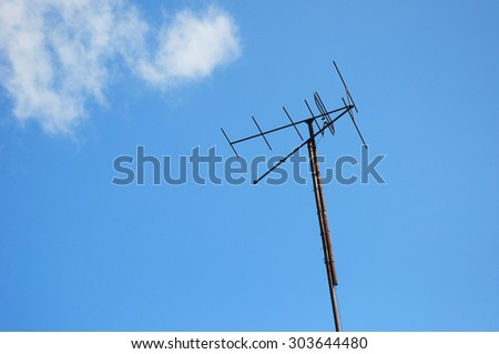 Old rusty television antenna
