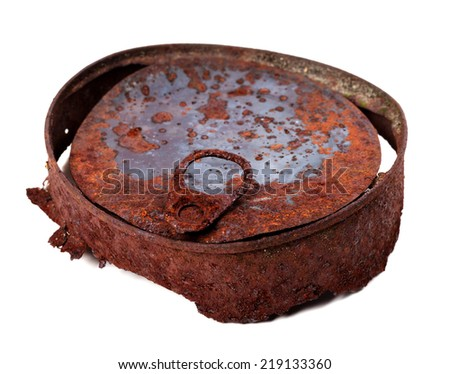 Old rusty tin can. Isolated on white background. - stock photo