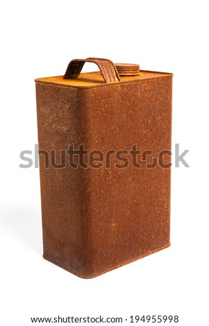 Old rusty tin gallon gas can with cap on white background - stock photo