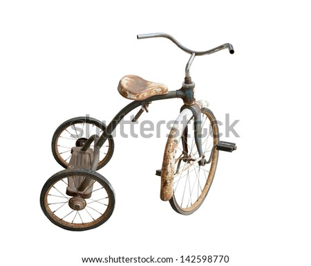 old rusty tricycle on a white background - stock photo