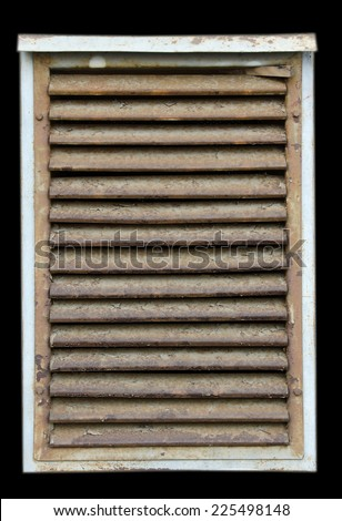 Old rusty ventilation's doors isolated on black background.  - stock photo