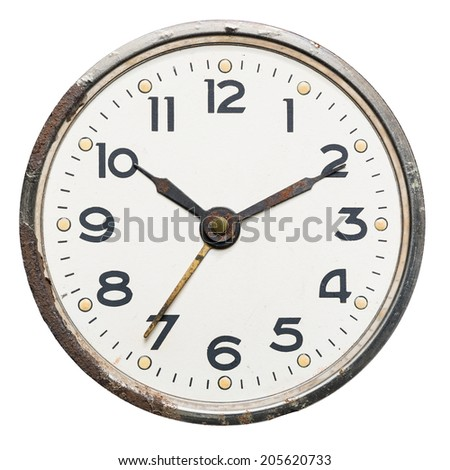 Old rusty vintage clock, isolated on white