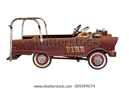 Old rusty weathered Fire Truck - stock photo