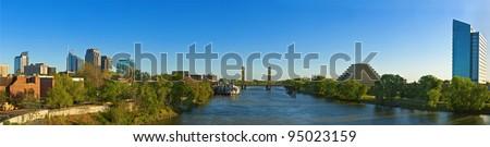 Old Sacramento Downtown Panorama - stock photo