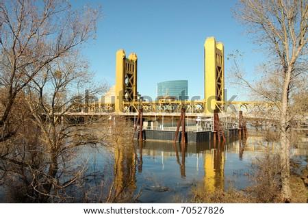 Old Sacramento famous tower bridge - stock photo