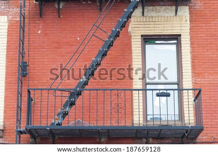 old safety ladder - stock photo