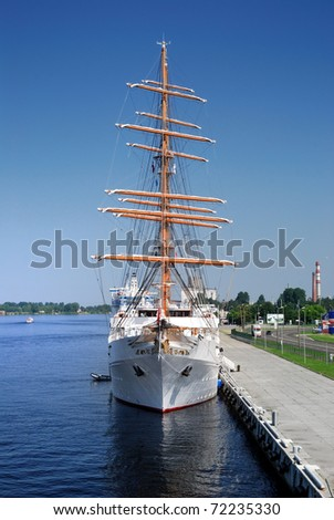 old sail ship in the port of Riga, Latvia - stock photo