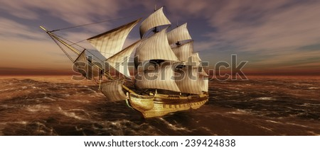 Old sailboat and sunset 3d - stock photo