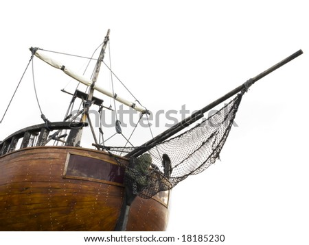 Old sailing ship isolated on white. - stock photo