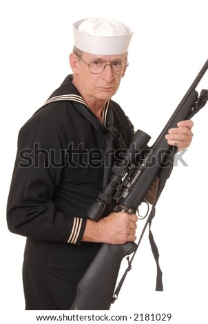 Old sailor from the United States Navy with sniper rifle - stock photo