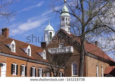 Old Salem Home Moravian Church - stock photo
