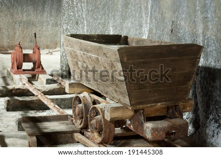 Old salt mine wagon on old tracks - Salina Turda, Romania, Transylvania