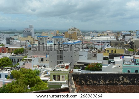 Old San Juan City Skyline, from top of Castillo San Cristobal, San Juan, Puerto Rico. Castillo San Cristobal is designated as UNESCO World Heritage Site since 1983. - stock photo