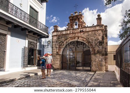 OLD SAN JUAN, PUERTO RICO - MARCH  27, 2015:  Historic street chapel in Old San Juan, Puerto Rico. - stock photo