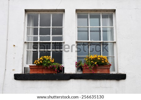 Old Sash Windows with Window Box Gardens of a Old English English Town House - stock photo