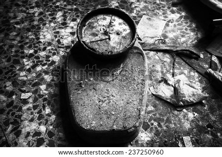 old scale weight - stock photo