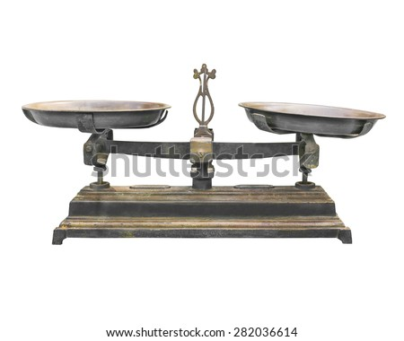Old scales with cups isolated on white background, Vintage balance isolated on white - stock photo