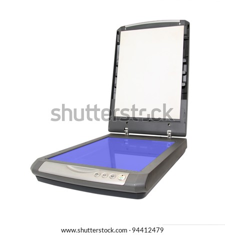 old scanner on white background - stock photo