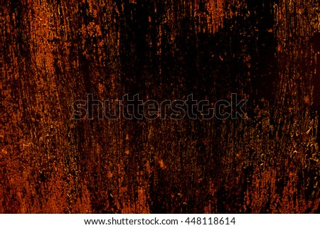 old scary rusty golden and copper metal surface texture/background for Halloween or haunted house games background/texture of wall - stock photo