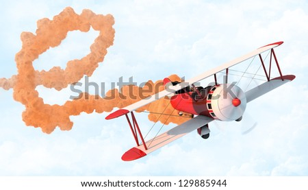 Old school biplane performing aerial loop with a trail of smoke in a cloudy sky. - stock photo