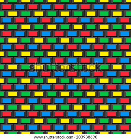 Old school 8 bit brick arcade game style background (seamless pattern) - stock photo