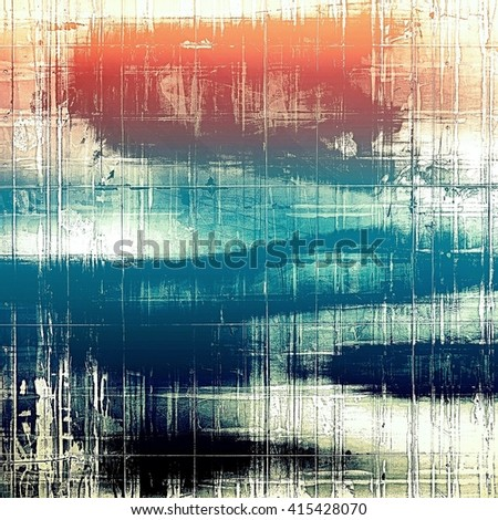 Old school frame or background with grungy textured elements and different color patterns: yellow (beige); blue; red (orange); black; white; pink - stock photo