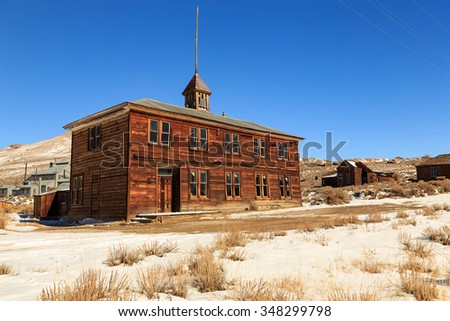 Old school in Bodie, California, USA. - stock photo