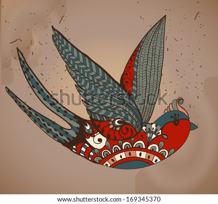 Old-school style tattoo swallow, Vintage Valentine illustration for Holiday design - stock photo