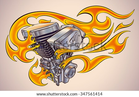 Old-school styled tattoo of a flaming motorcycle engine. Raster image. - stock photo