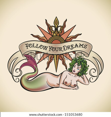 Old-school styled tattoo of a green hair mermaid on the background of a rose of winds and a banner. Raster image. - stock photo
