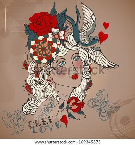 Old School Styled Tattoo Woman With Flowers, Vintage Valentine Illustration