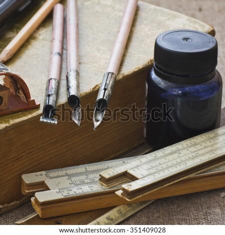 Old school supplies.  Selective focus - stock photo