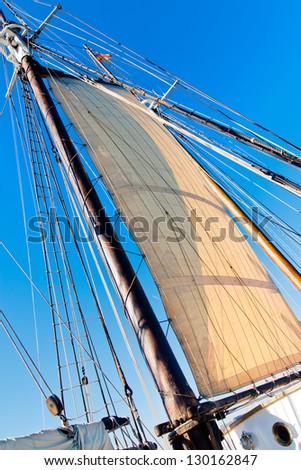 Old Schooner Mast, Sail and Ropes
