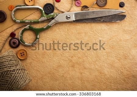 Old scissors - stock photo