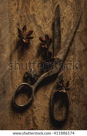 Old scissors on rustic wooden background. dark tone. still life.
