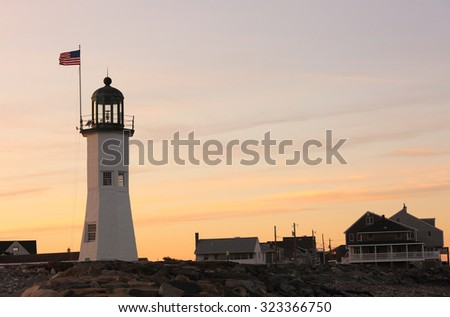 Old Scituate Lighthouse at Sunset, Scituate, Massachusetts, USA.