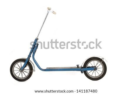 old scooter isolated on the white background - stock photo