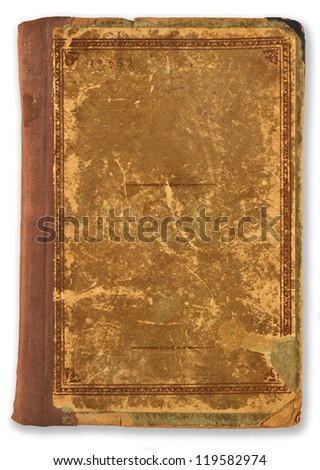 old, scratched cover book isolated on white