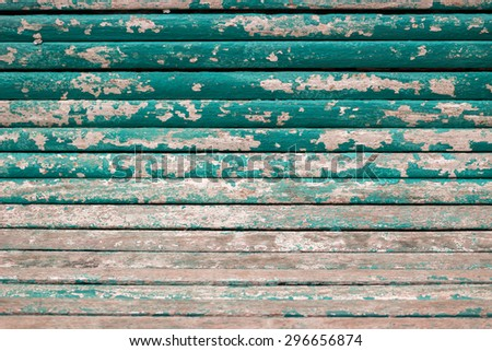 Old scratched green wood texture for background - stock photo
