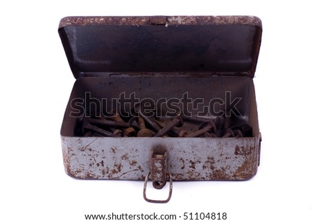 old screws in a box - stock photo