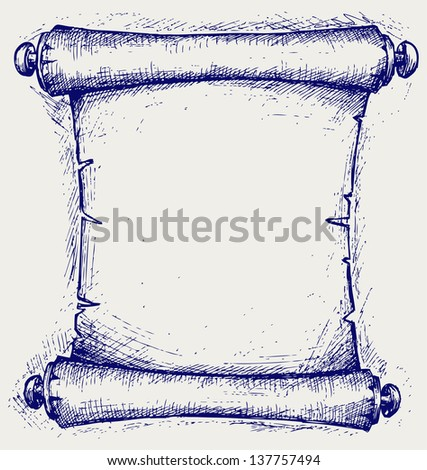 Old scroll. Doodle style. Raster version - stock photo