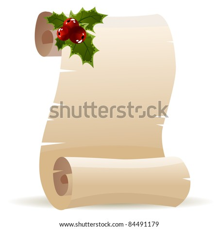 Old scroll for christmas invitation. Raster version. - stock photo