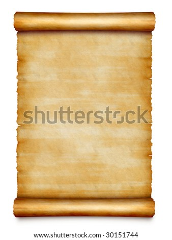old scroll isolated on white background - stock photo