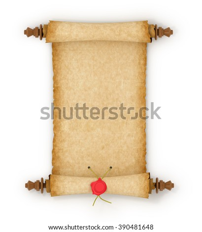 Old scroll paper surrounded by white background. - stock photo