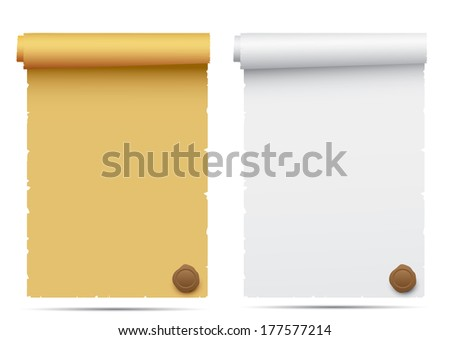 Old scroll paper with a wax seal isolated on a white background - stock photo