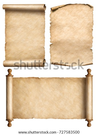 old scroll, parchment, papyrus vintage 3d illustration set