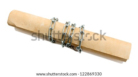 Old scroll with chain, isolated on white